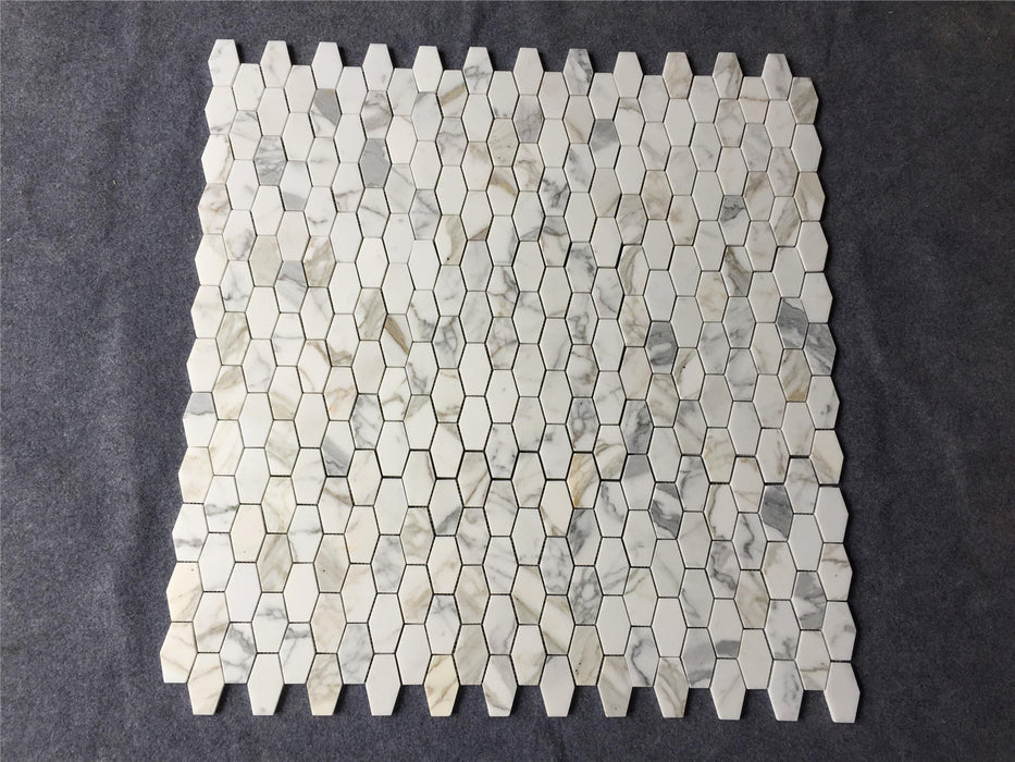 "2"" x 3"" Elongated Hexagon Calacatta Gold Marble Mosaic"