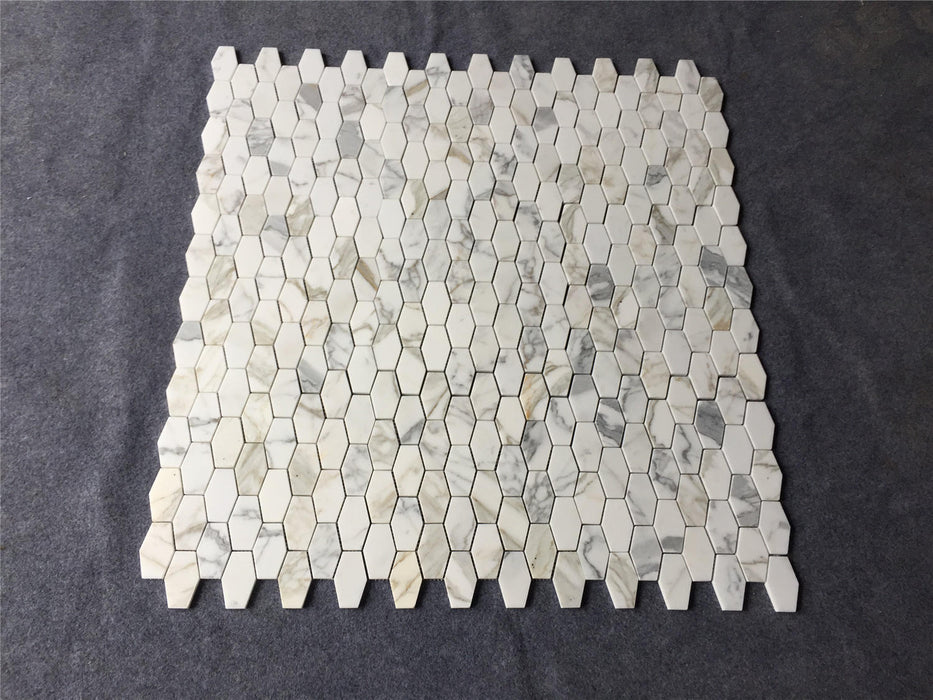 "Calacatta Gold Marble - 2"" x 3"" Elongated Hexagon Mosaic"