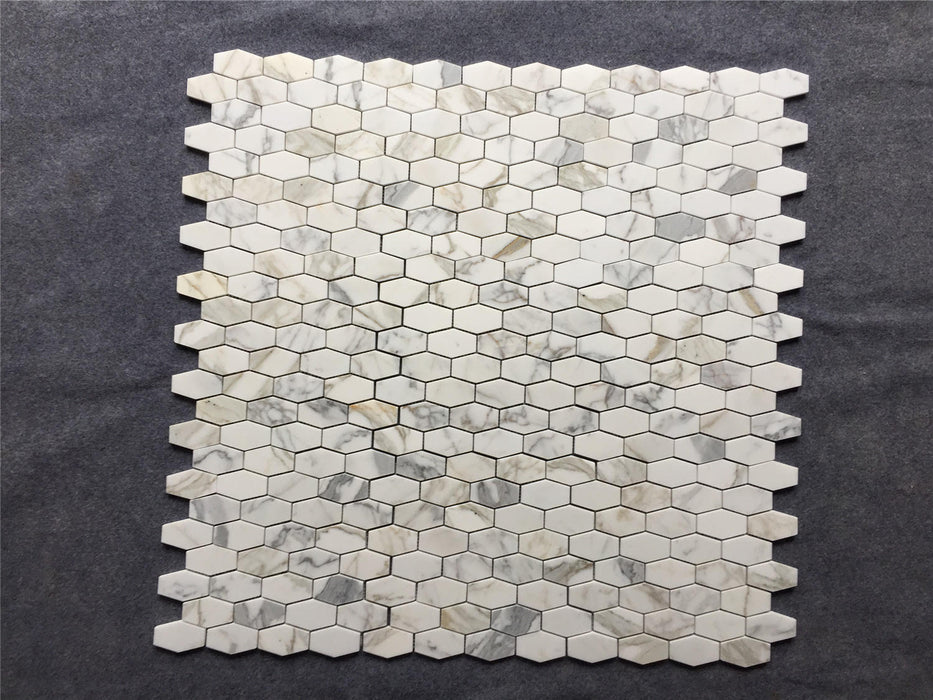 "Calacatta Gold Marble Mosaic - 2"" x 3"" Elongated Hexagon"