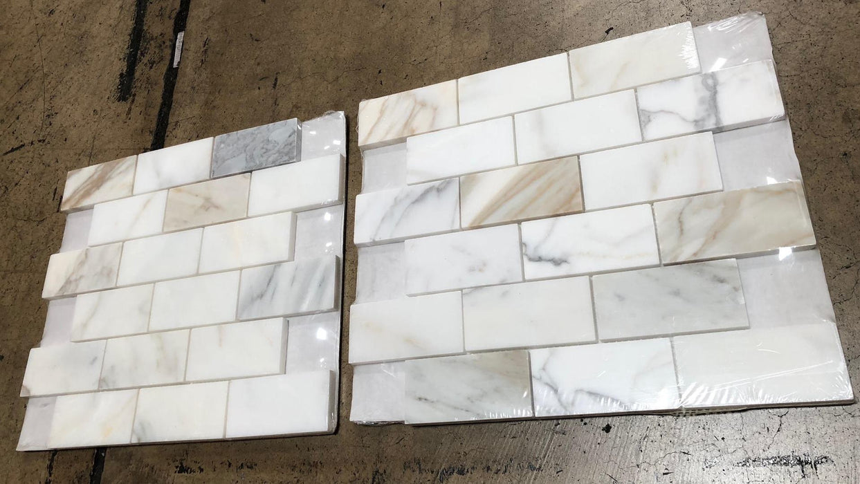"Calacatta Gold Marble Mosaic - 2"" x 4"" Brick Polished"