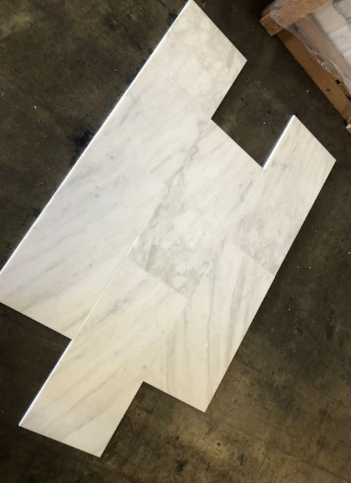 "Calacatta Strata Polished Marble Tile - 12"" x 24"" x 3/8"""