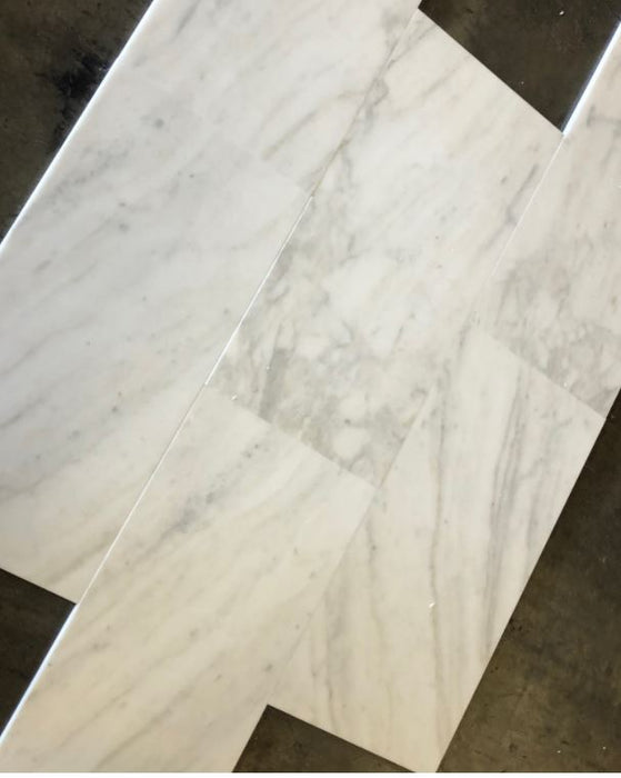 "Calacatta Strata Polished Marble Tile - 12"" x 24"""