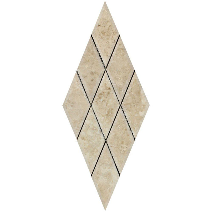 "Cappuccino Marble Mosaic - 3"" x 6"" Beveled Diamond Polished"
