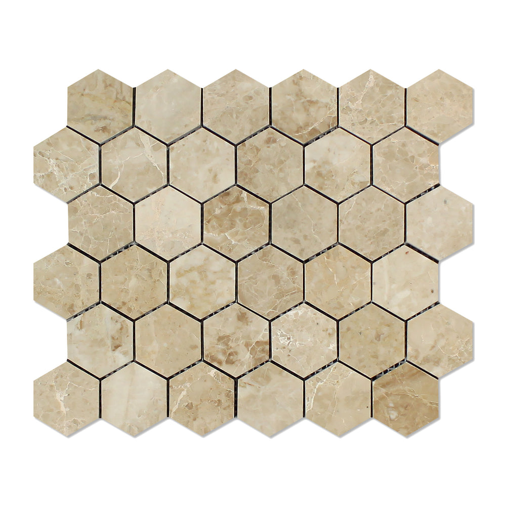 "Cappuccino Marble Mosaic - 2"" Hexagon Polished"
