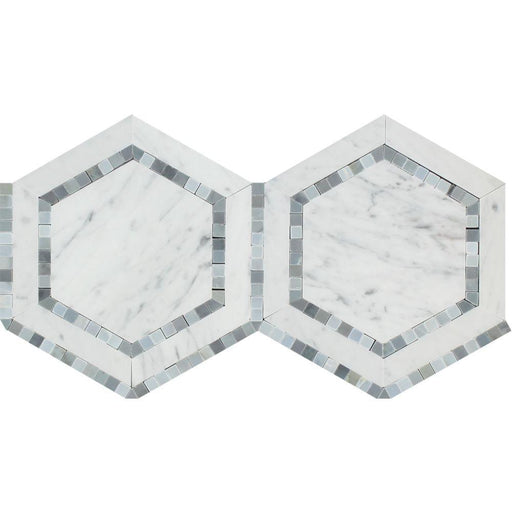 "White Carrara Marble Mosaic - 5"" Hexagon with Blue-Gray Polished"