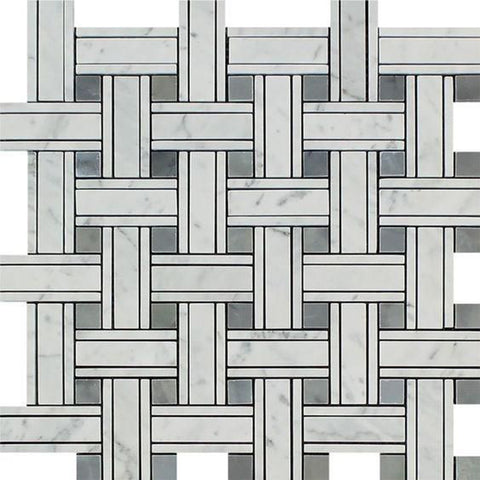 White Carrara Marble Mosaic - Triple Weave with Gray Polished