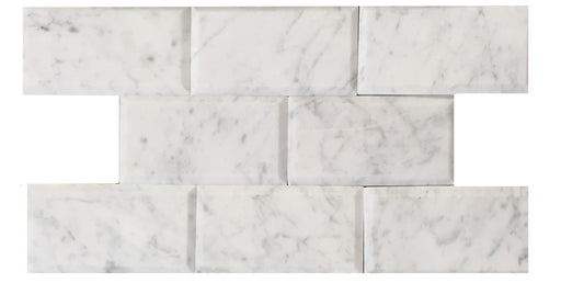 "Carrara White Marble Honed Tile - 3"" x 6"" x 3/8"""