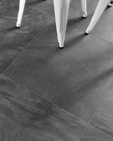 "Matte Carys Ink Black Porcelain Tile - 24"" x 24"" x 3/8"""