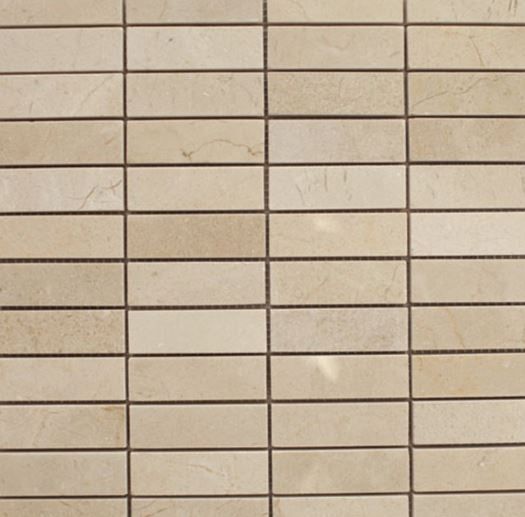 "Crema Marfil Marble Mosaic - 1"" x 3"" Stacked Polished"