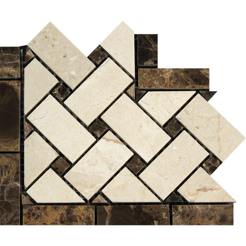 Crema Marfil Marble Border - Basketweave Border Corner with Emperador Dark Dots Polished