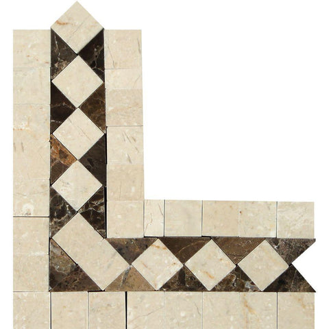 Crema Marfil Marble Border - Bias Border Corner with Emperador Dark Dots Polished