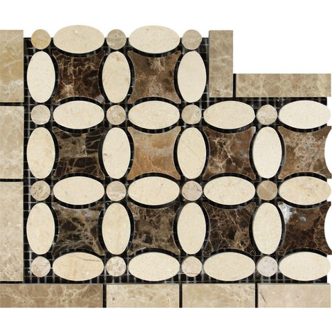 Crema Marfil Marble Border - Flower Border Corner with Emperador Light & Emperador Dark Polished