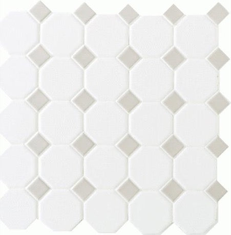 Octagon & Dot Matte White with Gray Gloss Dot 6501