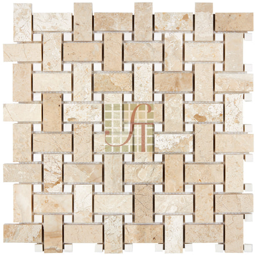 Diano Royal Marble Mosaic - Basket Weave with White Dolomite Dots