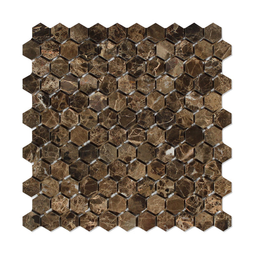 "Emperador Dark Marble Mosaic - 1"" Hexagon Polished"