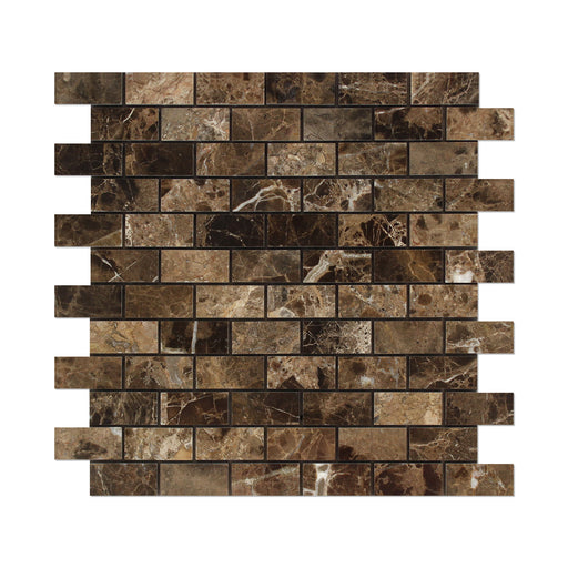 "Emperador Dark Marble Mosaic - 1"" x 2"" Brick Polished"