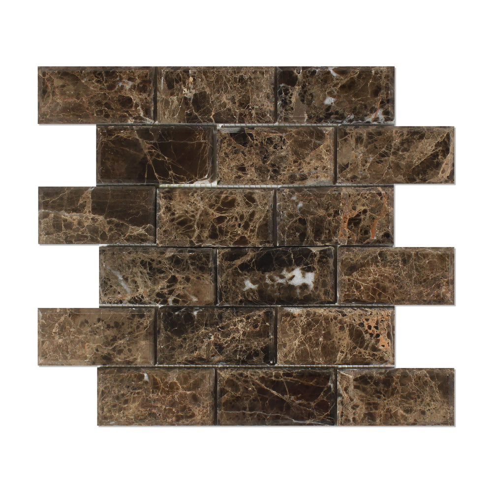"Emperador Dark Marble Mosaic - 2"" x 4"" Beveled Brick Polished"
