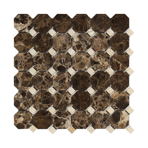 Emperador Dark Marble Mosaic - Octagon with Crema Marfil Dots Polished