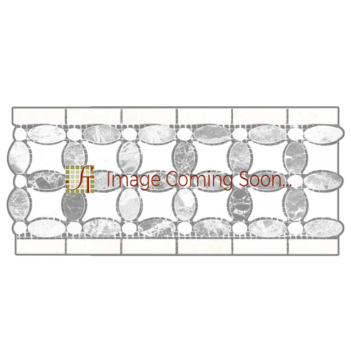 "Thassos White Marble Border - 5 3/4"" x 11 1/4"" Flower Border with Ming-Green Polished"