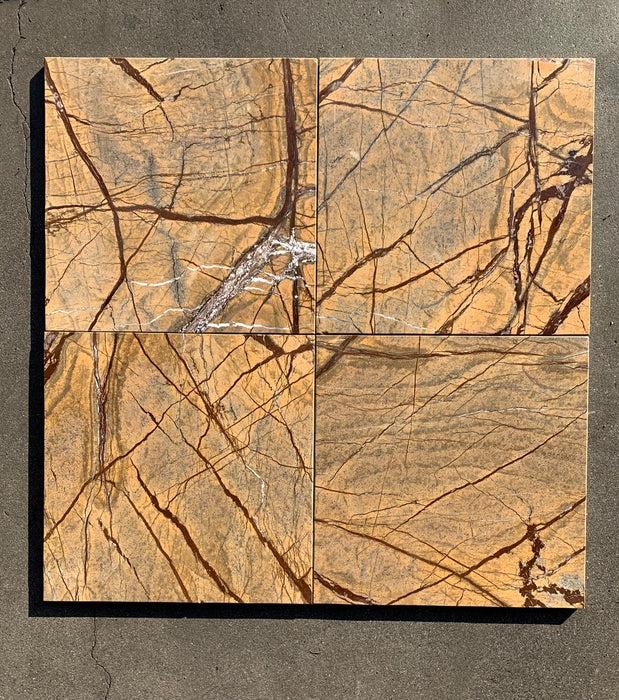 "Forest Gold Marble Tile - 12"" x 12"" x 3/8"""