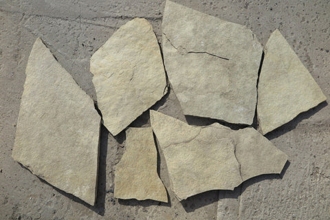 French Vanilla Limestone Flagstone - Natural Cleft Face & Back