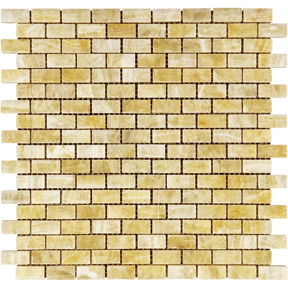 "Honey Onyx Mosaic - 5/8"" x 1 1/4"" Baby Brick Polished"