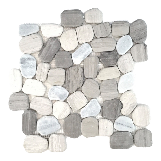 "White Wood Marble Pebble - 12"" x 12"" Flat Matte"