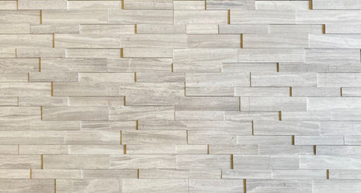 "White Wood Honed Marble Ledgestone - 6"" x 24"" x 3/4"""