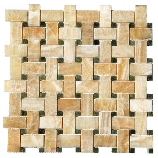 Honey Onyx Mosaic - Basket Weave with Green Dots Polished