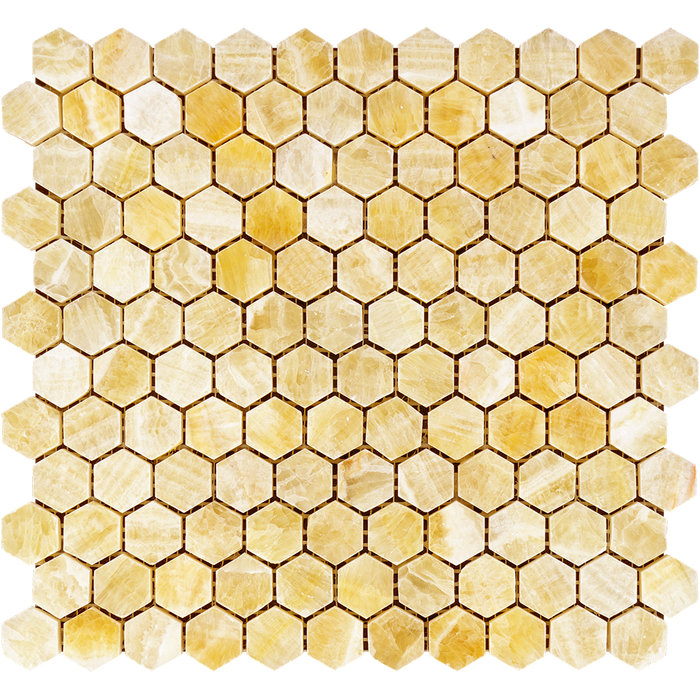 "Honey Onyx Mosaic - 1"" Hexagon Polished"