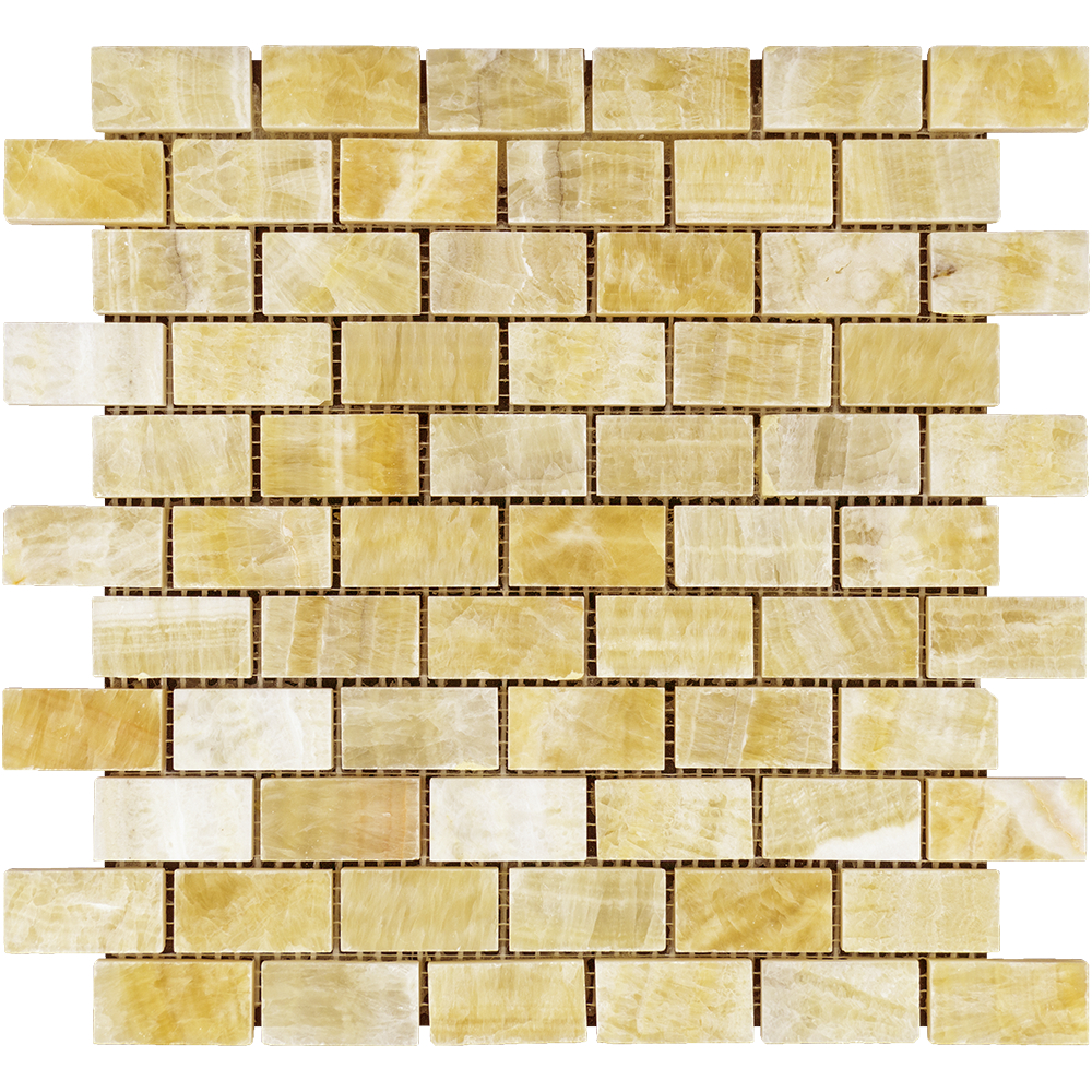 "Honey Onyx Mosaic - 1"" x 2"" Brick Polished"