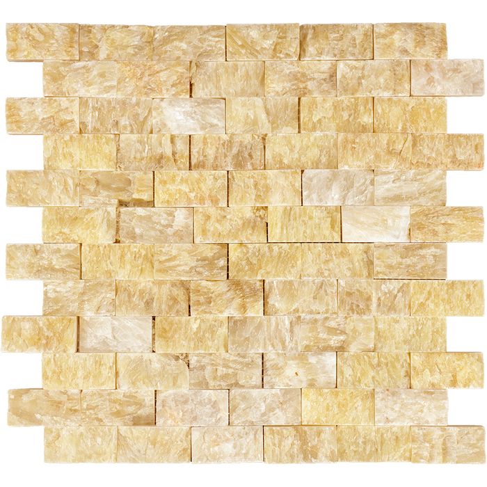 "Honey Onyx Mosaic - 1"" x 2"" Brick Split Face"