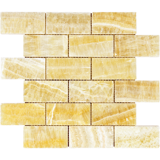 "Honey Onyx Mosaic - 2"" x 4"" Brick Polished"