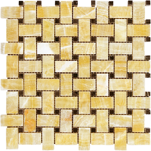 Honey Onyx Mosaic - Basket Weave with Black Dots Polished