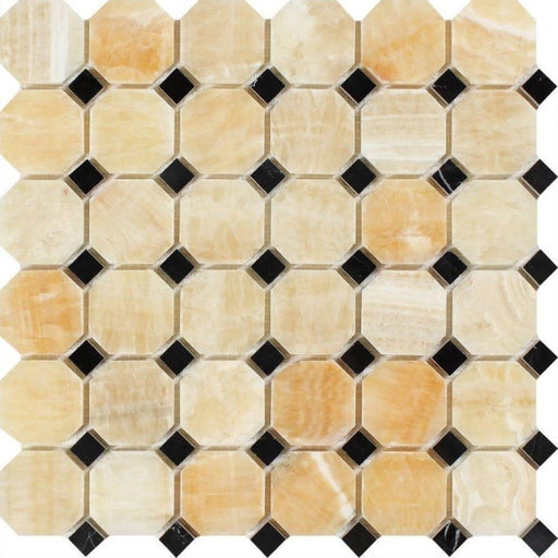Honey Onyx Mosaic - Octagon with Black Dots Polished