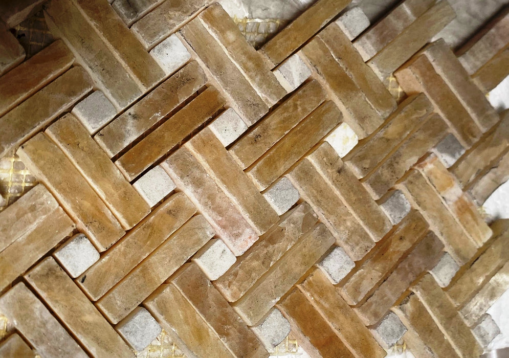 Honey Onyx Mosaic - Stanza with White Dots Polished