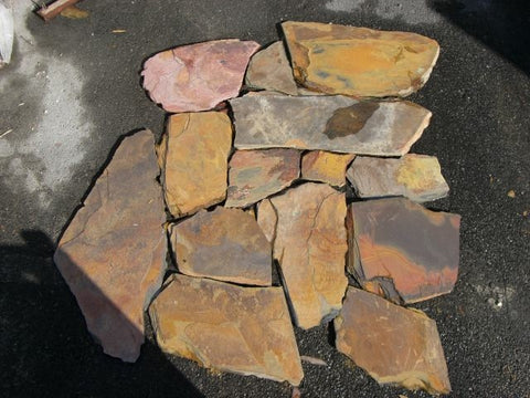 Indian Sunrise Slate Flagstone - Natural Cleft Face & Back