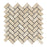 "Ivory Travertine Mosaic - 1"" x 2"" Herringbone Tumbled"