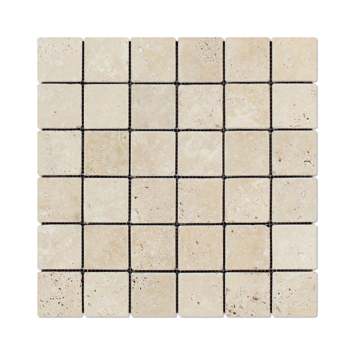 "Ivory Travertine Mosaic - 2"" x 2"" Tumbled"