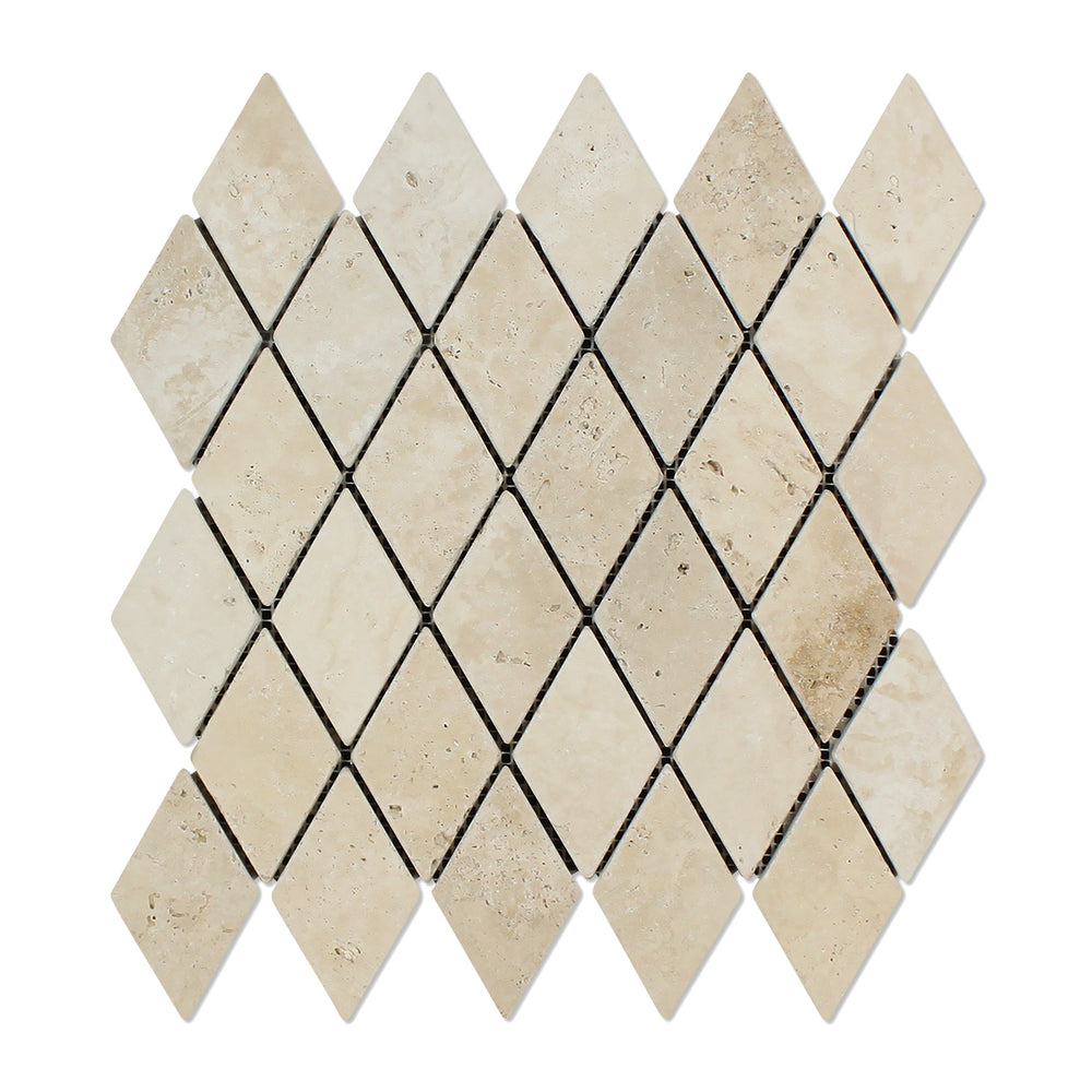 "Ivory Travertine Mosaic - 2"" x 4"" Diamond Tumbled"