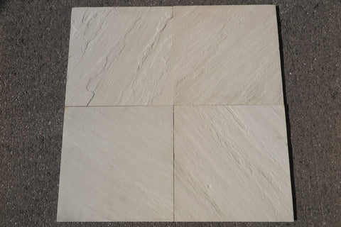 "Brushed Jade White Sandstone Tile - 18"" x 18"" x 1/2"""