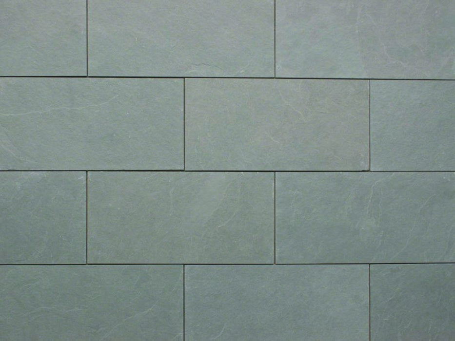 "Jade Green Slate Natural Cleft Face, Gauged Back Tile - 3"" x 12"" x 3/8"""