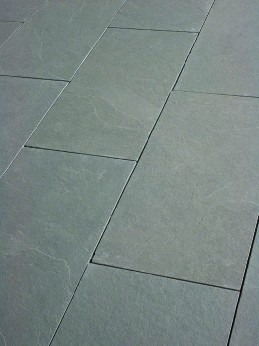 "Jade Green Slate Natural Cleft Face, Gauged Back Tile - 4"" x 12"" x 3/8"""