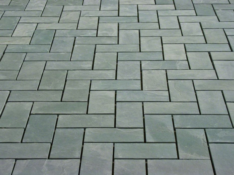 "Jade Green Slate Natural Cleft Face, Gauged Back Tile - 6"" x 12"" x 3/8"""