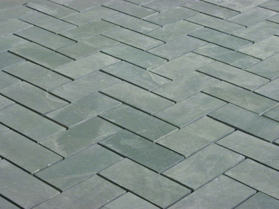 "Jade Green Slate Natural Cleft Face, Gauged Back Tile - 4"" x 16"" x 3/8"""