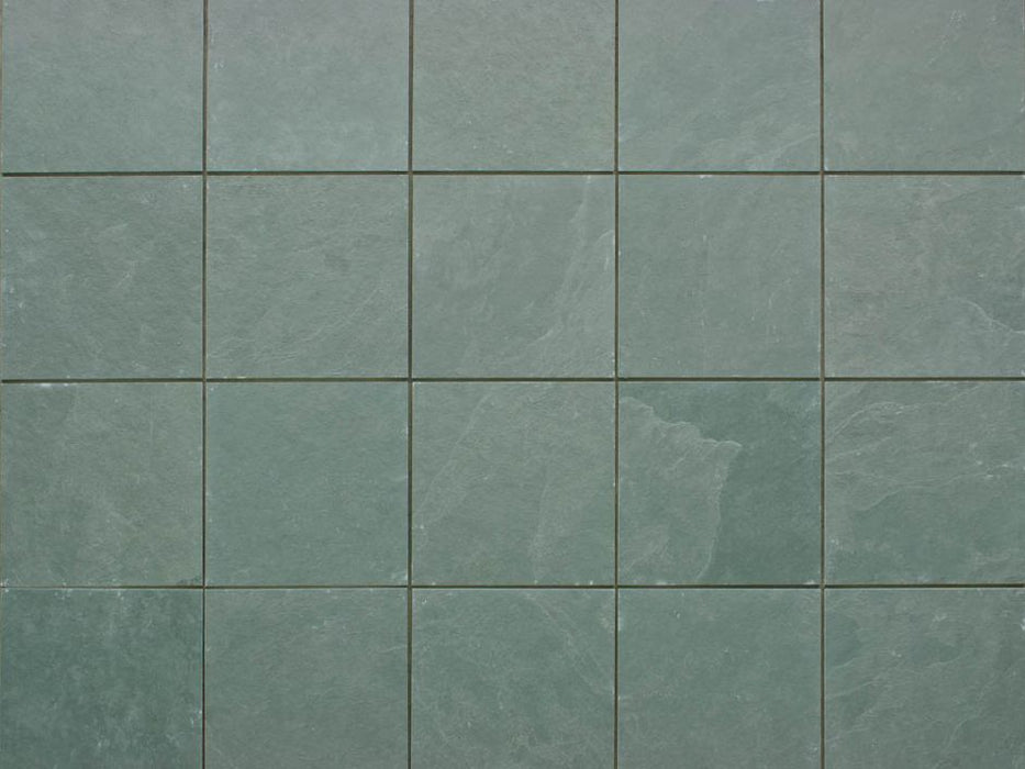 "Jade Green Slate Natural Cleft Face, Gauged Back Tile - 12"" x 12"" x 3/8"""