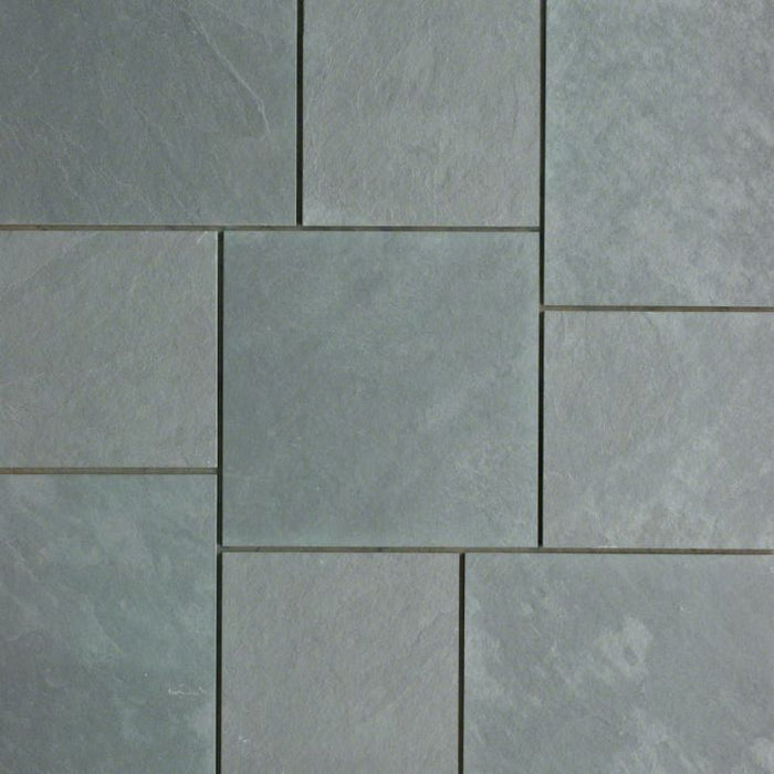 "Jade Green Slate Natural Cleft Face, Gauged Back Tile - 16"" x 16"" x 3/8"""