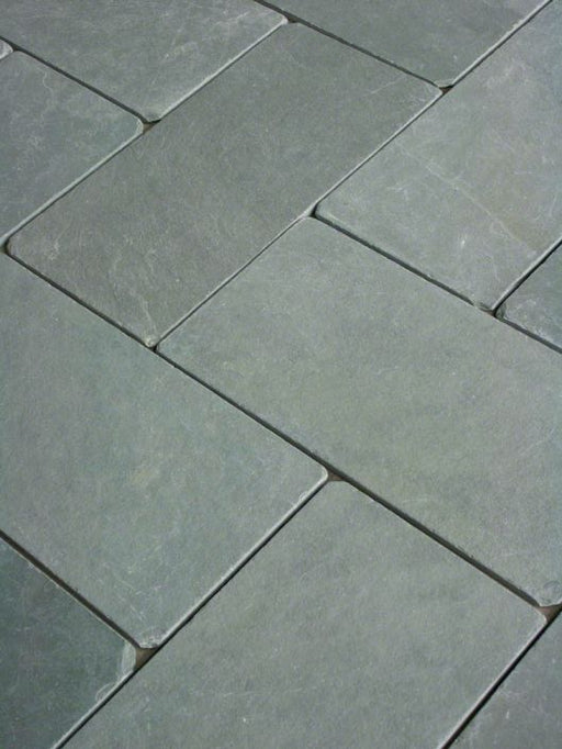 Jade Green Slate Tumbled Tile