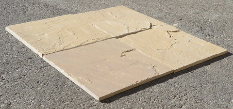"Natural Cleft Face & Back, Kokomo Gold Light Sandstone Tile - 12"" x 12"" x 1/2"" - 3/4"""