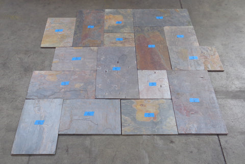 "Multi Color Classic Slate Ashler Pattern - Various Sizes x 3/8"" - 5/8"""